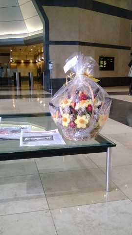 Chocolate Fruit Bouquets delivered to Canary Wharf Barclays office in London.