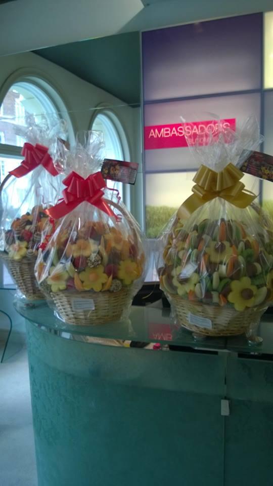 Edible Fruit Arrangements delivered to Ambasodors Hotel London.