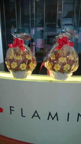 Corporate Edible Fruity Bouquets delivered to Flamingo office in central London.