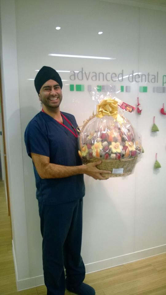 Happy Diwali Edible Fruit Gift Basket delivered to Advanced Dental Tower Bridge London.