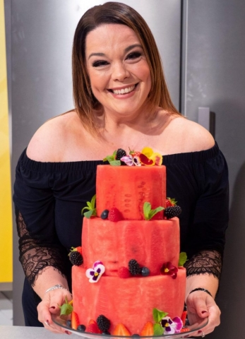 Lisa Riley celebrates her Birthday with Watermelon Cake made by Fruity Gift at popular Today's-Lorraine on ITV.