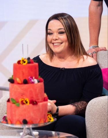 Lisa Riley enjoyed her Birthday Gift, Watermelon Cake  created by Fruity Gift at Today's-Lorraine on ITV.